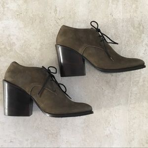 Haider Ackermann Olive Suede Lace-Up Booties - 39